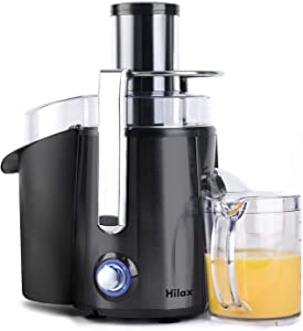 Power Juicer with LED Light, Hilax Centrifugal Juicer Extractor Press Juicer Machine 3 Inch Wide Mouth, 2-SPEED One Button Easy Clean Stainless Steel Juicer Blender for Vegetables and Fruits, Black