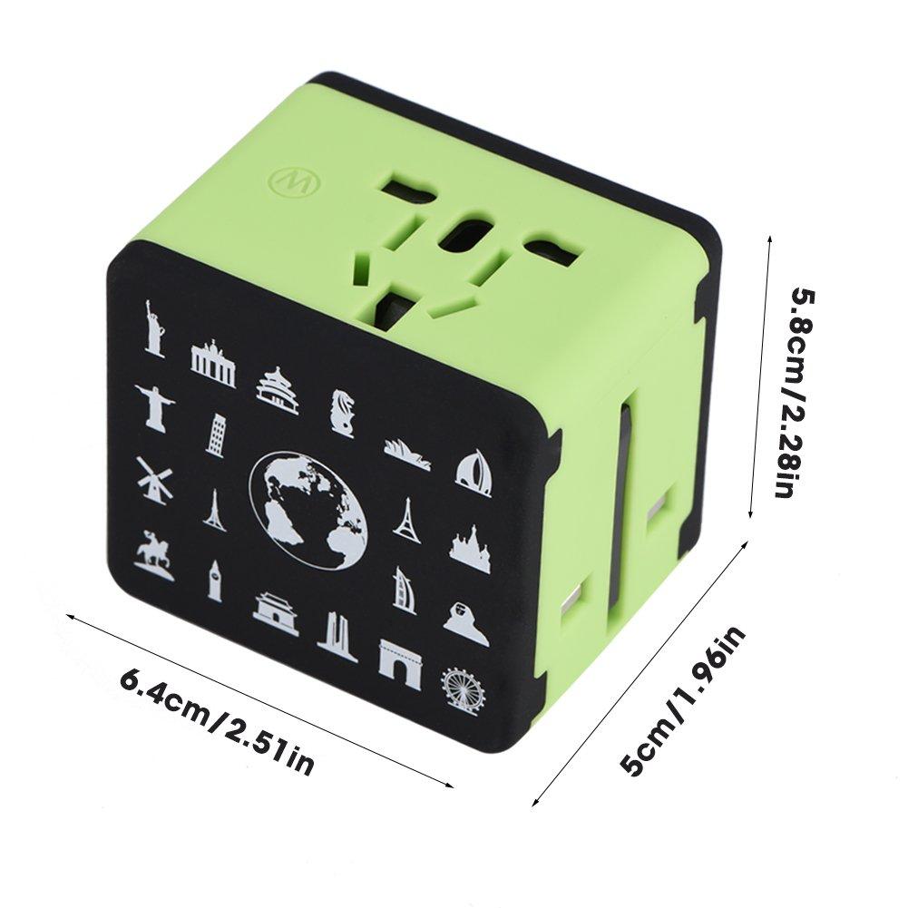MP3 tabletas Zerone Adaptador de Enchufe de Viaje USB Universal Cargador port/átil de 4 Puertos para tel/éfonos Inteligentes c/ámara Digital MP4 Rojo