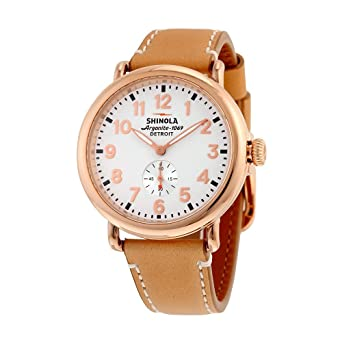 a86b6a5791e Mens Shinola Runwell 41mm Natural Leather Strap Watch  Amazon.co.uk  Watches