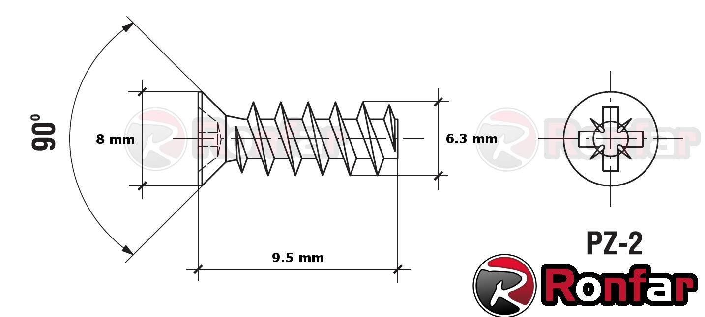 RONFAR Vis euro de fixation /Ø 6.3x13 mm T/ête frais/ée plate Acier zingu/é 50 pi/èces Empreinte PZ