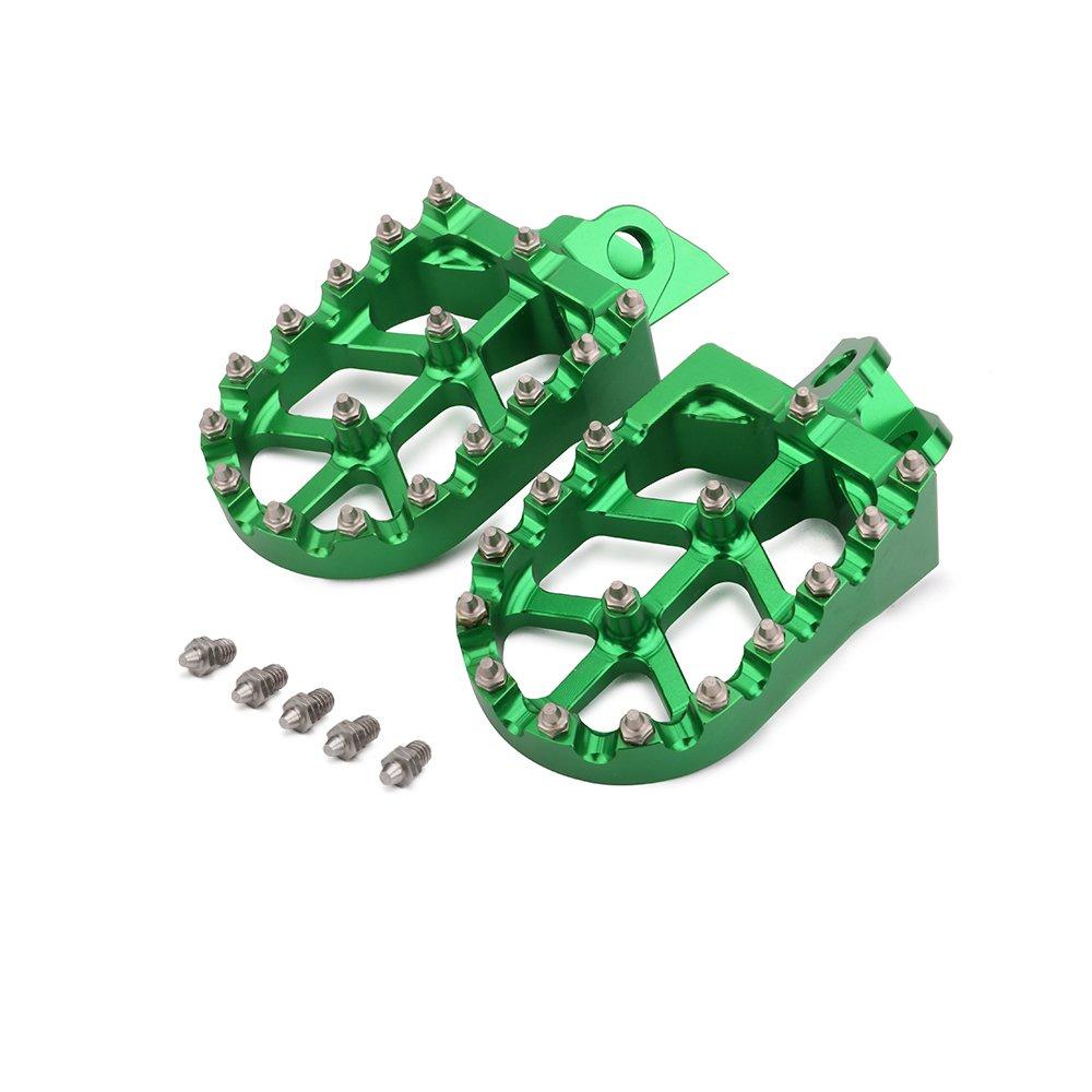 JFG RACING CNC Green Foot Pegs Footpegs Foot Rests Foot Pedals For Kawasaki KX65 KX85 00-07 KX80 98-00 KX100 98-07 RM65 RM100 03-07