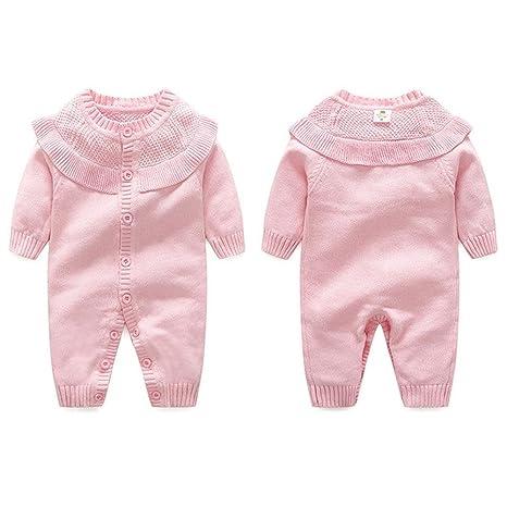 FJY Baby Peleles Sweater Primavera Otoño Manga Larga Lotus Lotus Leaf Edge Crawling Ropa, Pink