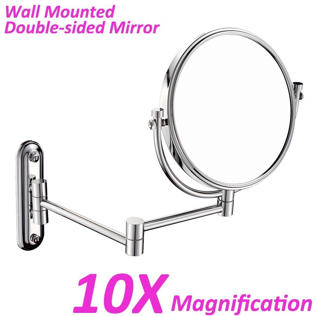 GURUN 8 Inch Wall Mounted Double Sided Makeup Mirror with 10x Magnification,Chrome Finish M1208(8in,10x)