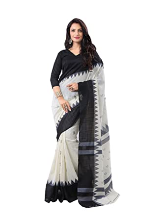 dc262658e5 Indian Designer Saree Bhagalpuri Silk Printed Black And White Branded  Stylish Party Wear Saree (WO3-8910): Amazon.in: Clothing & Accessories