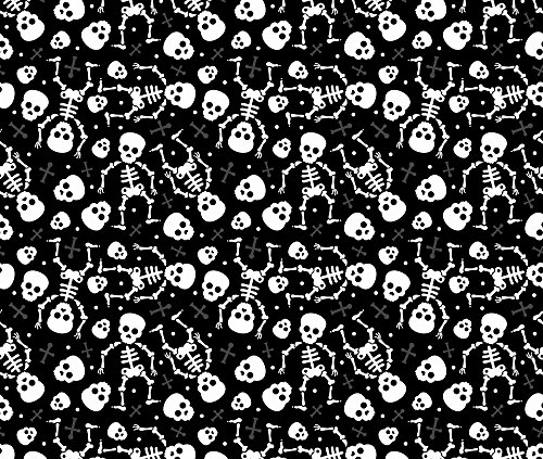 Fabric Halloween Skull Skeleton (Skull Fabric Cool Skulls Halloween Skeleton And Mexican Dia De Muerte Kids Print Black And White by Littlesmilemakers Printed on Basic Cotton Ultra Fabric by the Yard by Spoonflower)