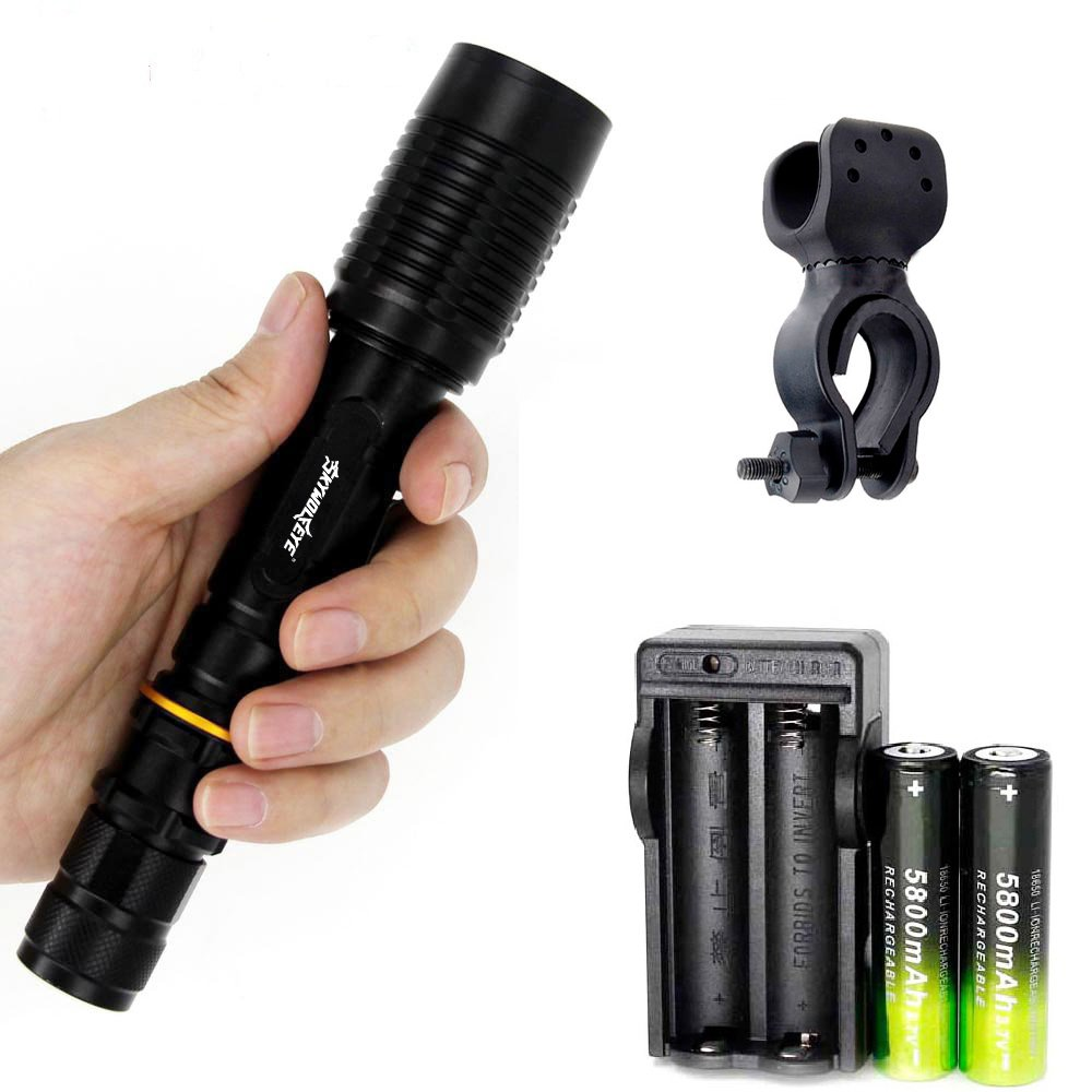 SKYWOLFWYE Adjustable Flashlights Police Military 5 Modes T6 2000 Lumens Led Flashlight - 18650 Batteries Chargers Bike Clips Included Ship from USA