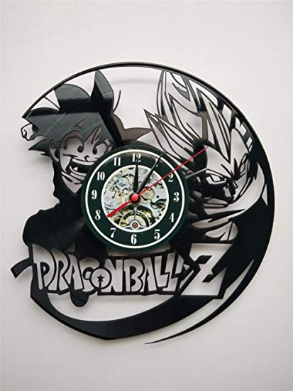 mebeaty Black Dragon Ball Relojes Decorativos Vintage Disco de Vinilo Relojes de Pared 3D Relojes de
