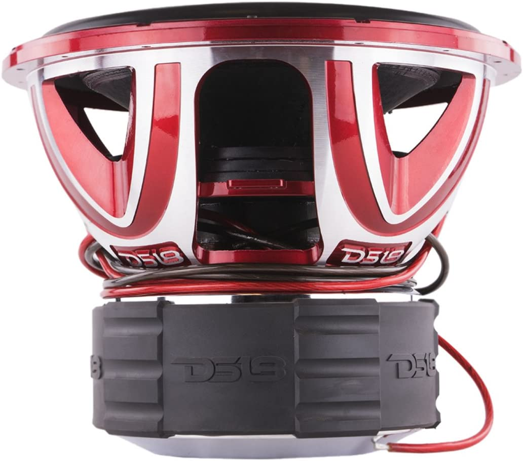 DS18 HOOLIGAN X15.1D Subwoofer in Red with Kevlar Enforced Paper Cone and Upgraded Spider - 6,000W Max, 4,000W RMS, Dual 1 Ohms - Powerful Car Audio Bass Speaker (1 Speaker)
