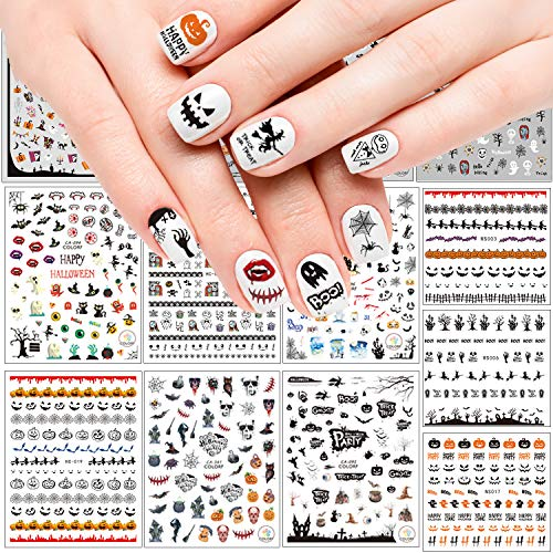 Adoreu 1000+ Patterns Halloween Nail Art Decals Pumpkin Witches 3D Nail Art Self-Adhesive Stickers Spider Web Bat or Women Girls Kids DIY Nail Design Manicure Happy Halloween (13 Sheets)