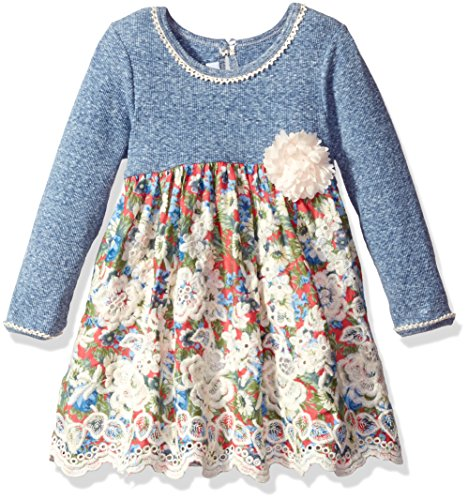 (Bonnie Jean Little Girls' Knit Floral Printed Voile Scallop Border Dress, Blue, 4)