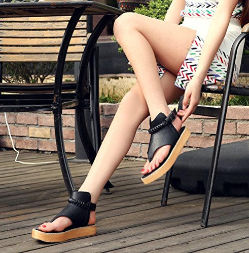 Sentao Sandalias Verano Estilo Bohemio Romanos Zapatos Flip Flops Playa Zapatos Negro