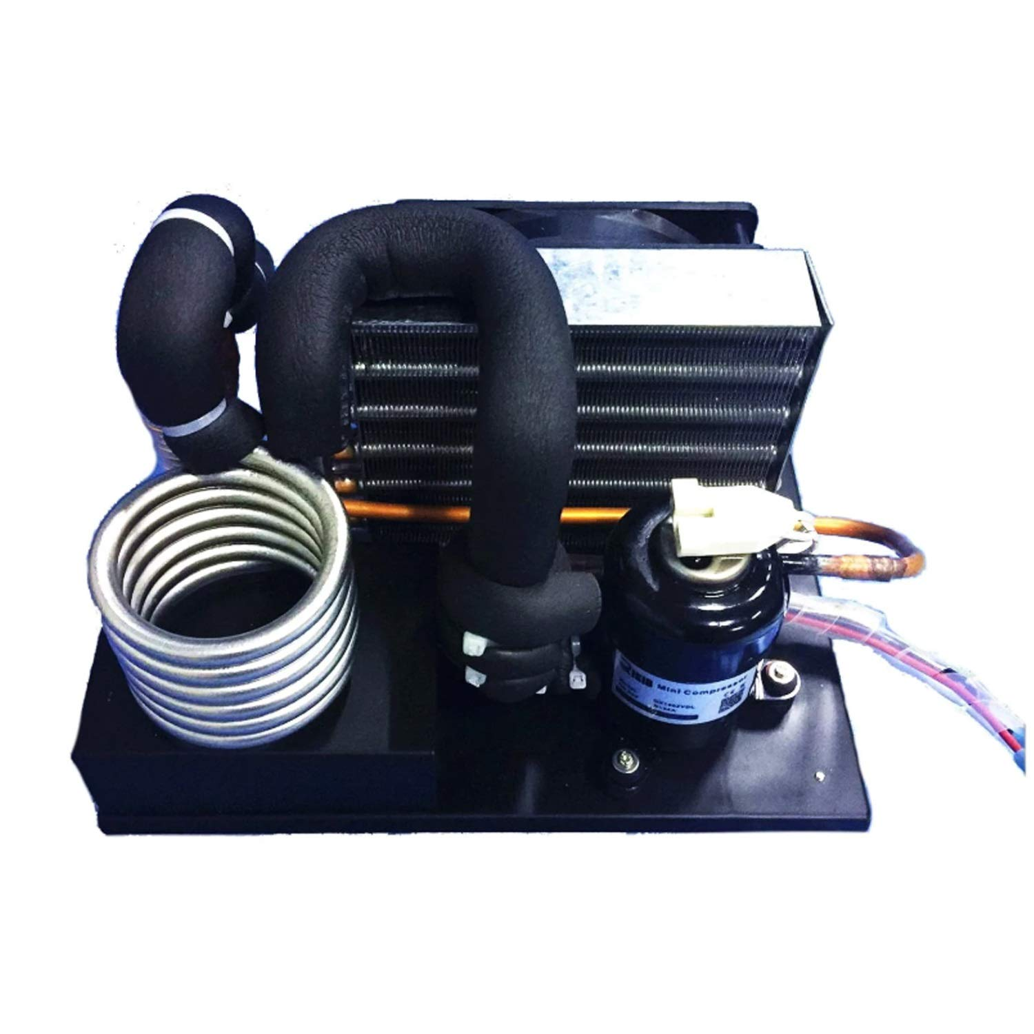 Portable cooling system Compact Refrigeration Unit DC24V 125~400W Cooler Module,Portable Stianless Steel Coil S-Type Liquid Chiller R134A Refrigerant Miniature Water Cycle Refrigeration small cooling
