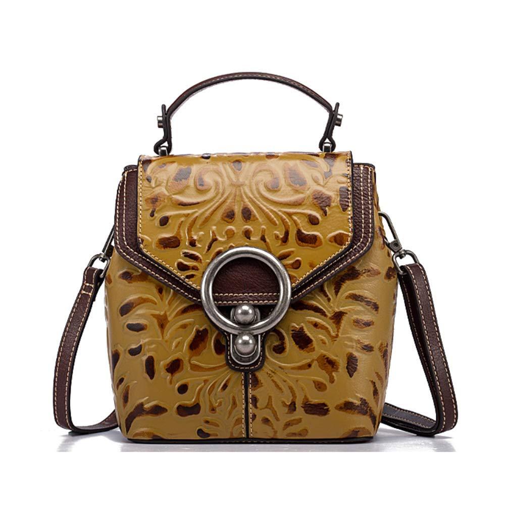 Vivian To Vintage Retro Embossed Floral Pattern Genuine Leather Shoulder Bag Crossbody Bag Backpack