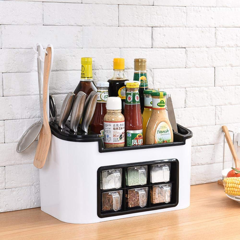 con porta coltelli scatola bianca a sei griglie Scaffale da cucina multifunzione set di contenitori per condimenti e bottiglie da cucina