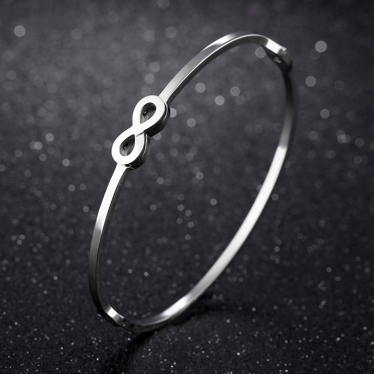 CHARMFAME Simple Stainless Steel Infinity Bangle Bracelet Fashion Jewelry for Women /& Girls