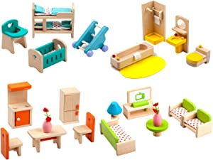 Giraffe 4 Set Colorful Wooden Doll House Furniture, Wood Miniature Bathroom/ Living Room/ Bedroom/ Kitchen House Furniture Dollhouse Doll Decoration Accessories Pretend Play Kids Toy