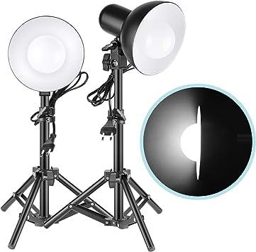 Neewer LED Luz 2 x 15W Mesa Foto Estudio Kit Iluminación LED con ...