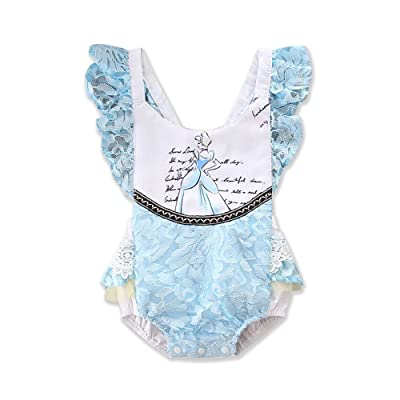 ABEE Newborn Baby Girls Beauty and The Beast Ruffle Sleeve Romper Bodysuit Jumpsuit Outfts Clothes