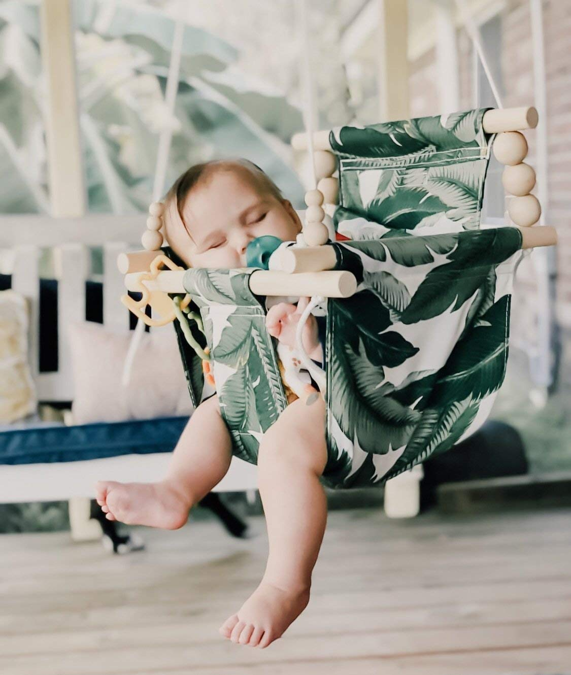 B07QCWCCP1 OUTDOOR tropical palm leaves swing, baby swing, fabric baby swing, porch swing 61lmWDSqgAL._SL1330_