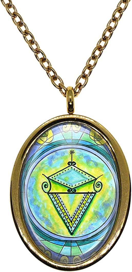 Wealth Gold Stainless Steel Pendant Necklace My Altar La Sirene Mermaid Veve Voodoo Magick for Dreams Seduction