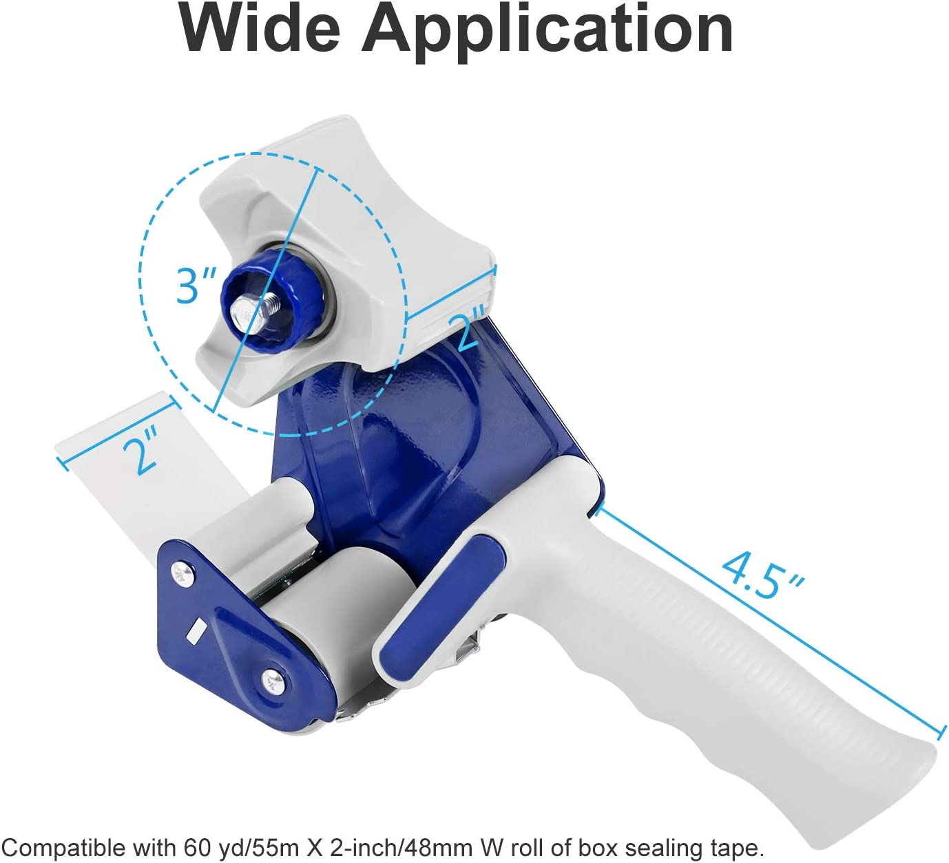 JARLINK Packing Tape Dispenser Gun (2 Pack) with 2 Rolls Tape, 2 inches Lightweight Industrial Side Loading Tape Dispenser for Shipping Packaging Moving Sealing (Grey & Blue) : Office Products