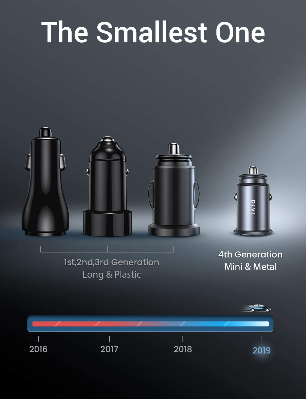 Car Charger-Black DIVI V801-12V// 24V Adaptor w//Mini Size Dual Port 5V//4.8A//24W