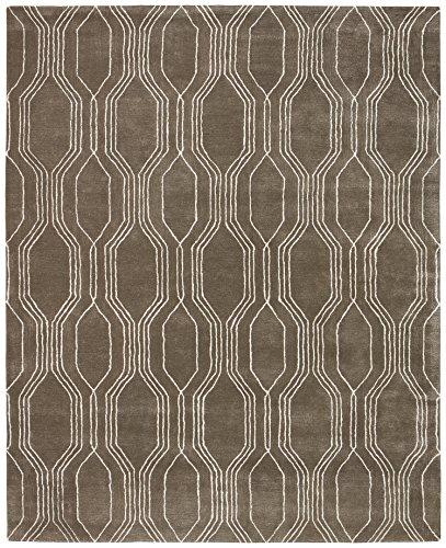 Rivet Steel Slanted Lines Wool Rug, 8' x 10' by Rivet