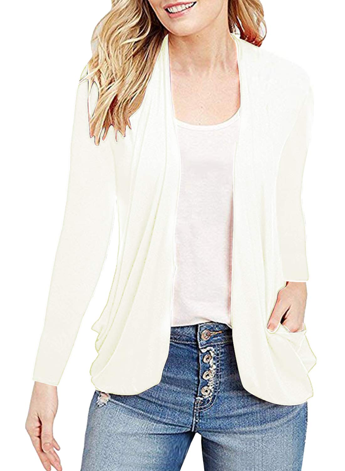MIHOLL Women's Casual Cardigans Long Sleeve Open Front Top Blouse (Small, White)