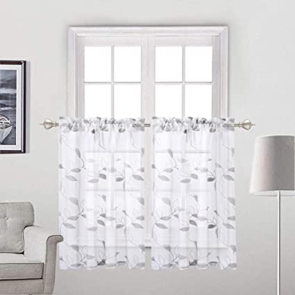 Haperlare Sheer Kitchen Curtains, Leaves Pattern Sheer Short Bathroom  Window Curtain, Floral Grey Ribbon Embroidered Half Window Covering Voile  Tier ...