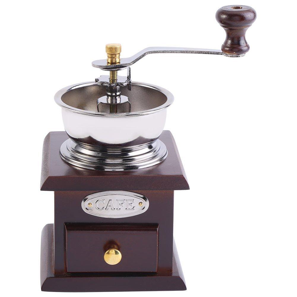 Manual Coffee Grinder Vintage Style Hand-Crank Roller Coffee Grinder with Catch Drawer(Coffee) Zerodis