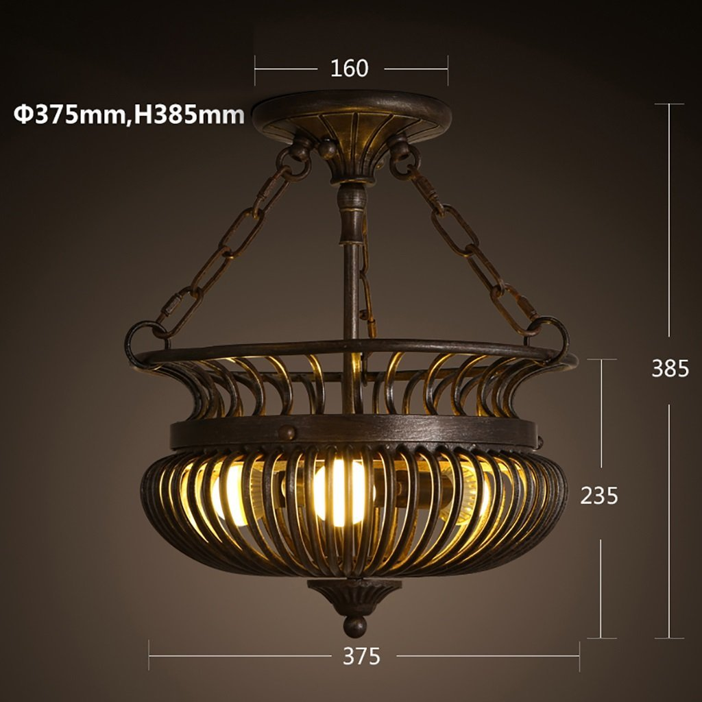 8  YANG Ceiling Light Retro Iron Ceiling Lamps European Round Bedroom Lamps