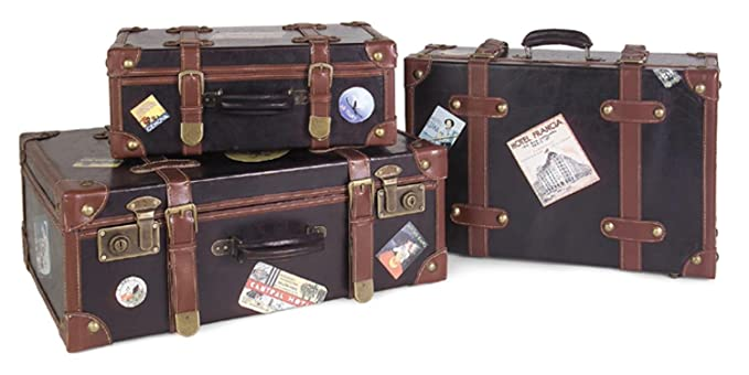 Amazon.com | Set of 3 Decorative Labeled Leather Luggage Trunks ...