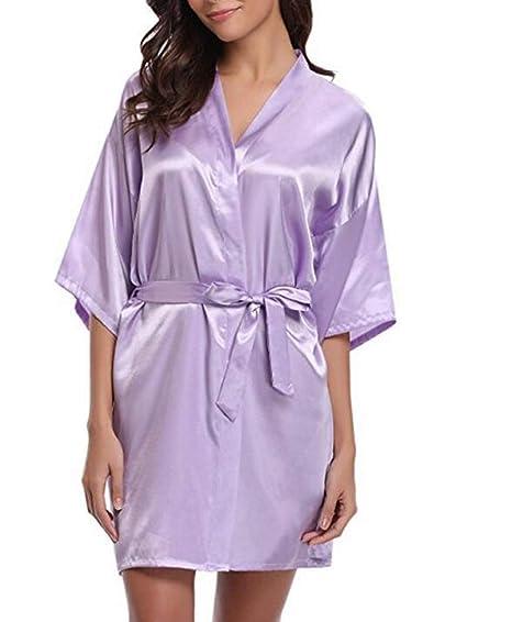 Smilesi 2018 Nuevo Seda Kimono Bata Albornoz Mujeres Seda de Dama de Honor Togas Sexy Togas Satin Robe Vestidos para Mujer: Amazon.es: Ropa y accesorios