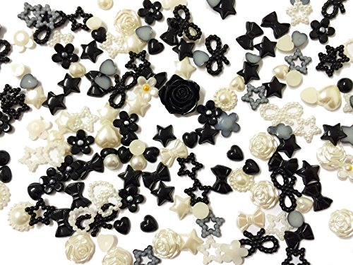 PEPPERLONELY Brand 20 Grams (Apprx 135PC + )Black Cream Off White Mixed Flowers Stars Flowers Bows Petals Round Acrylic Cabochons Flat Back Pearls -
