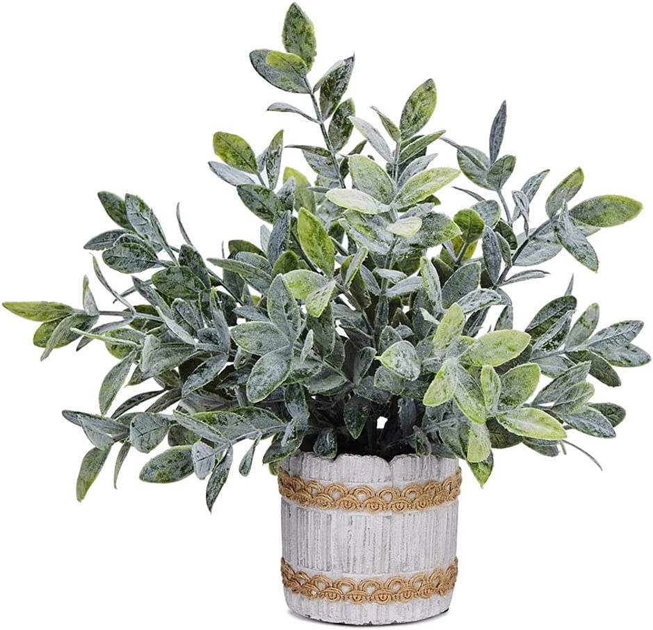 CADNLY Small Artificial Plants in Pots – Little Fake Plants for Bedroom Bathroom - Artificial Potted Plants Faux Herb Plants - Modern Farmhouse Plant Desk Decor - Green Mini Plants Home Decor Indoor