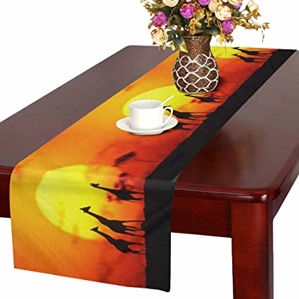 Interestprint Giraffe Family Silhouette Over Sunrise In Kenya African Savanna Table Runner Cotton Linen Home Decor For Wedding Party Banquet