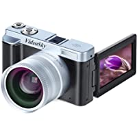 VideoSky 24MP Full HD 1080p Wi-Fi Camera with Wide Angle Lens, 16X Digital Zoom, (Two Batteries Included)