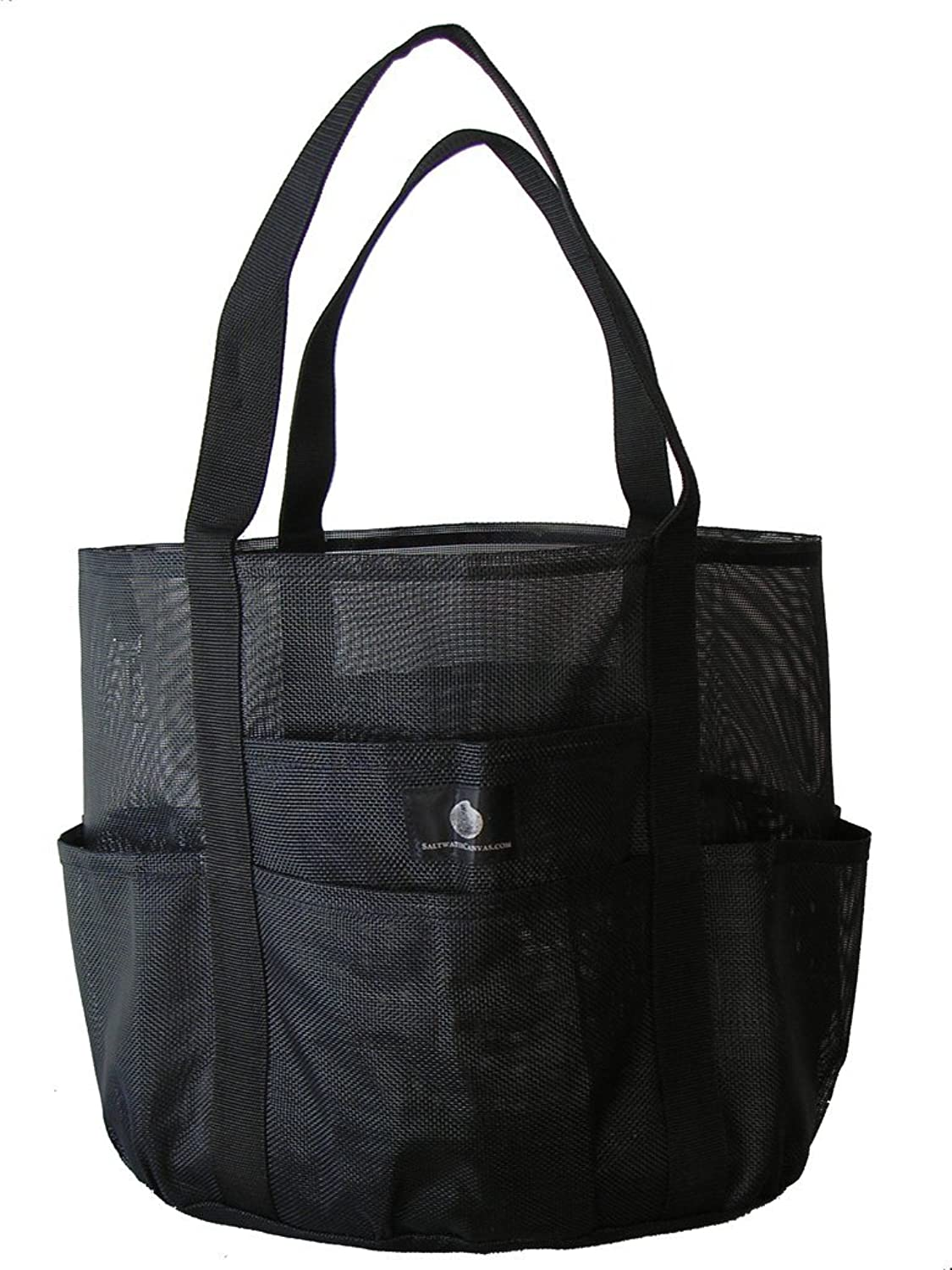 Canvas tote bags on wheels - Saltwater Canvas Whale Bag R 9 Pockets Big Family Mesh Beach Bag Tote Black