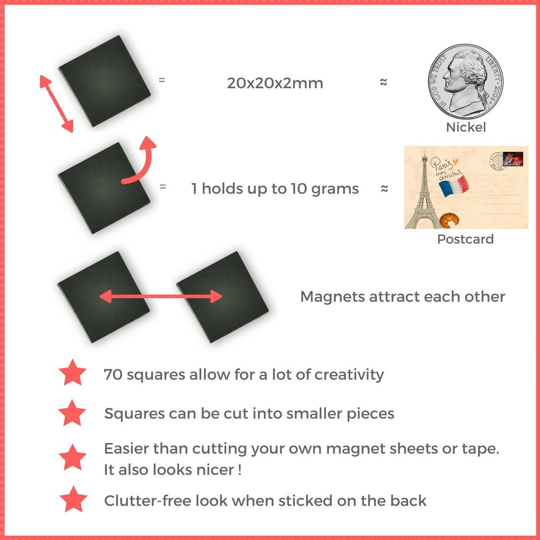 Amazon magnefic magnetic squares 1 tape sheet of 70 magnetic magnetic squares 1 tape sheet of 70 magnetic squares each 20x20x2mm magnet on one side self adhesive on the other side perfect for fridge organisation reheart Images