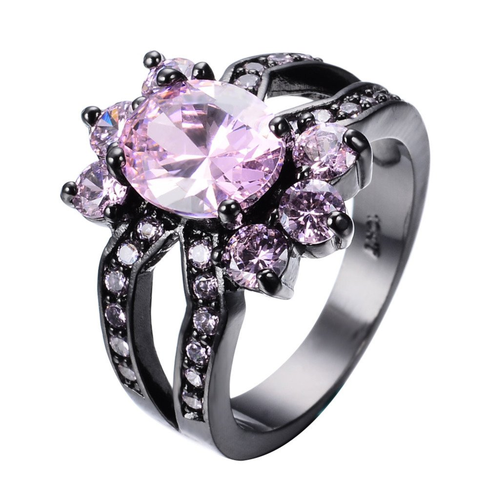 F/&F Ring Shape Pink Zircon Ring Black Gold Filled Jewelry Vintage Ring For Women Wedding Rings