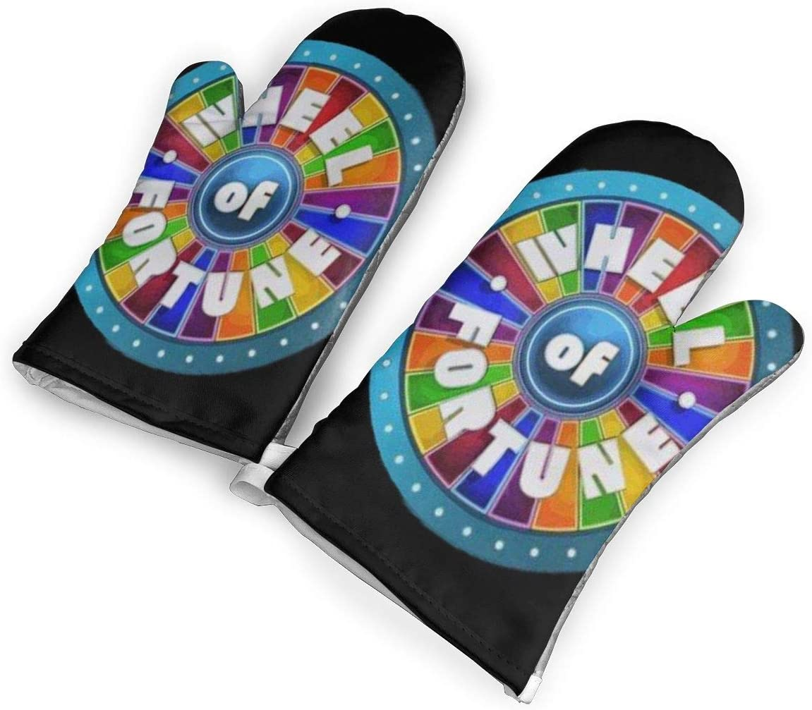 QSF Wheel of Fortune Sony Pictures Studios Oven Mitt, Kitchen Cooking Gloves, Non-Slip Silicone Grid Cotton Baking Gloves, Heat Resistant Kitchen Gloves, One Pair