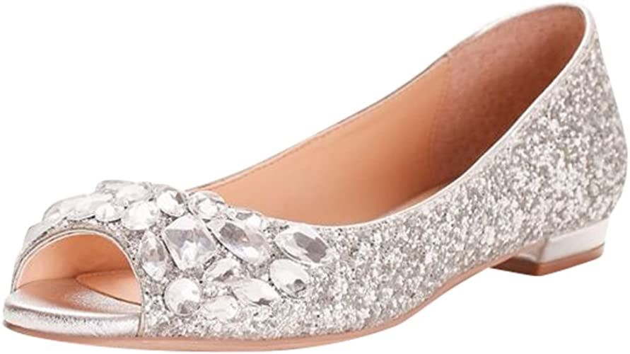 Glitter Peep-Toe Flats with Gem