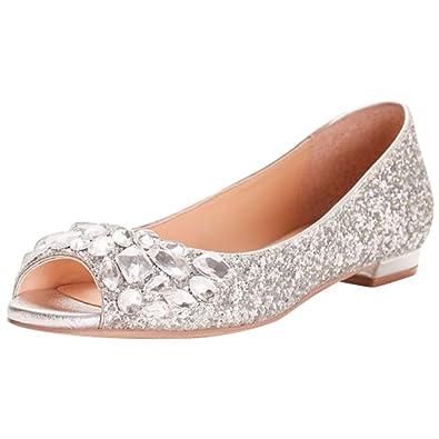 a1b904f01c0c19 David s Bridal Glitter Peep-Toe Flats Gem Embellishment Style JWCLAIRE