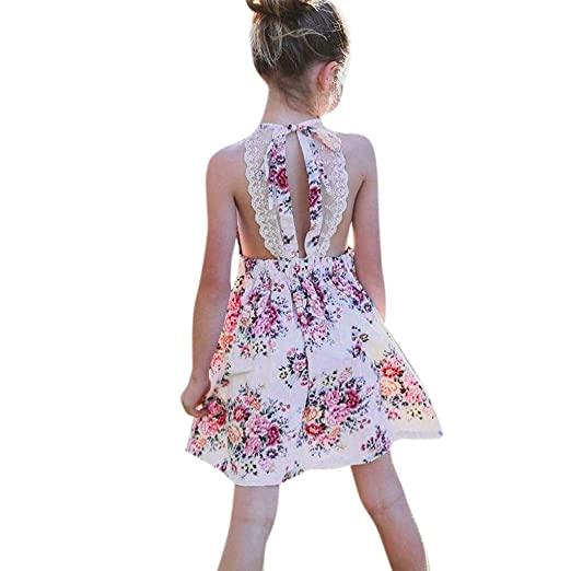 bc348e5e9 Summer Toddler Baby Girls Casual Dress Pleated Sleeveless Floral Print  Backless Lace A-line Dresses