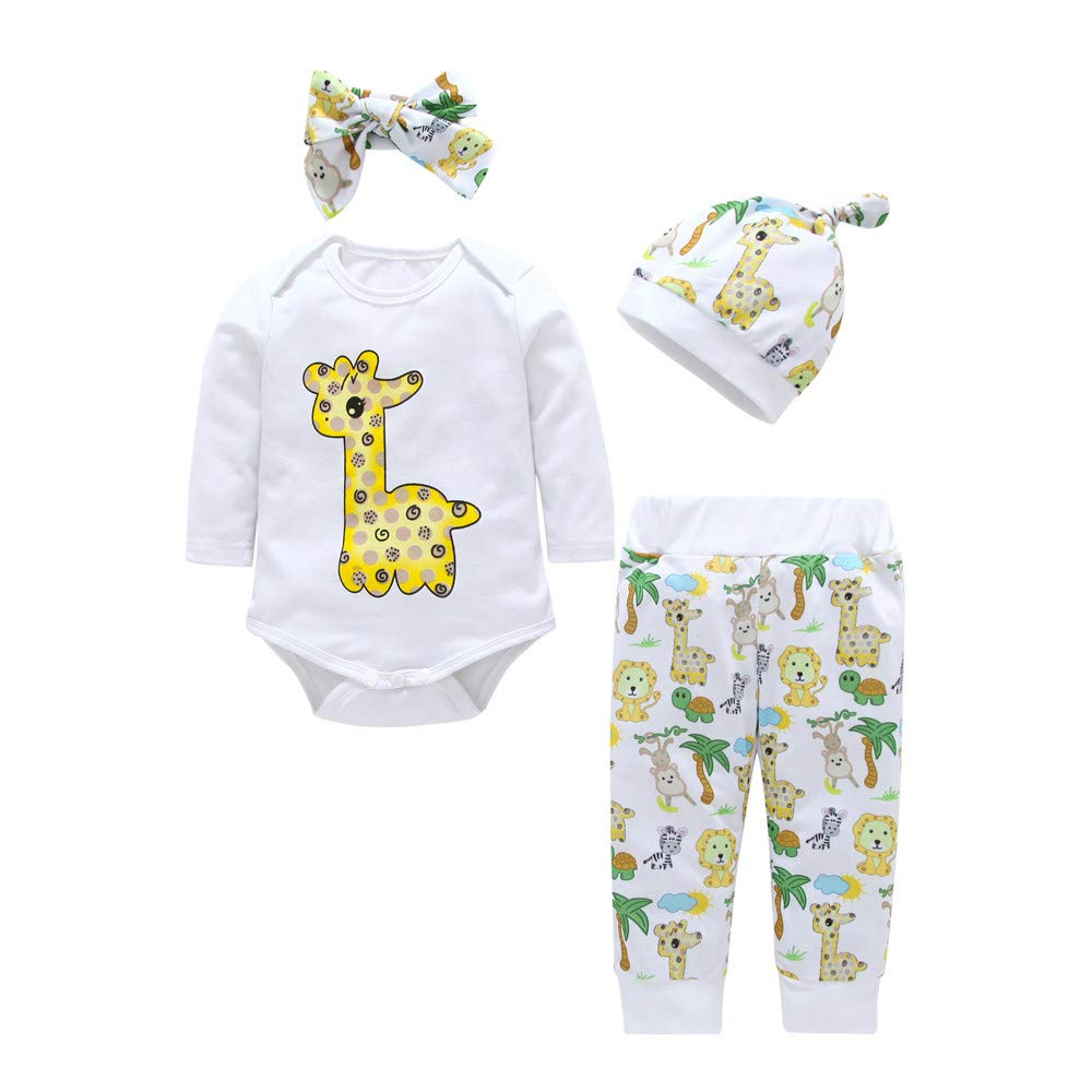 Newborn Christmas Pajamas Sets,Jchen(TM) Infant Baby Long Sleeve Giraffe Print Romper Animal Pants Hat Headband 4 PCS Outfits for 0-24 Months (Age: 3-6 Months)