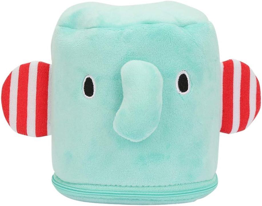 Caja de pa/ñuelos de peluche para beb/é Infanter/ía de dibujos animados Animal lindo Toallitas suaves Caja de soporte Elefante verde