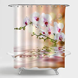 "MitoVilla Spa Zen Shower Curtain Set for Women and Girls Bathroom Decor, White Orchid Florals with Watercurls in The Garden Pond Artwork Bathroom Accessories with Hooks, White, Coral, 72"" W x 72"" L"
