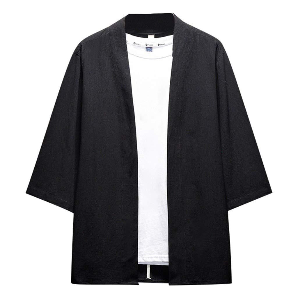 Mens Summer t Shirts Short Sleeve,Tronet Men's Summer Cotton and Hemp Buttonless Seven-Minute Sleeve Blouse Top Black by Tronet Men's tops