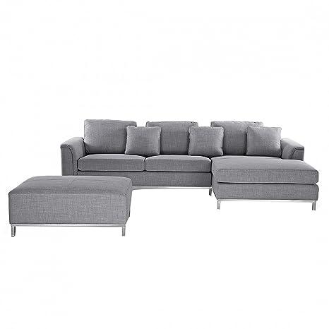 Divano grigio chiaro in tessuto - Divano angolare componibile - Sofa ...