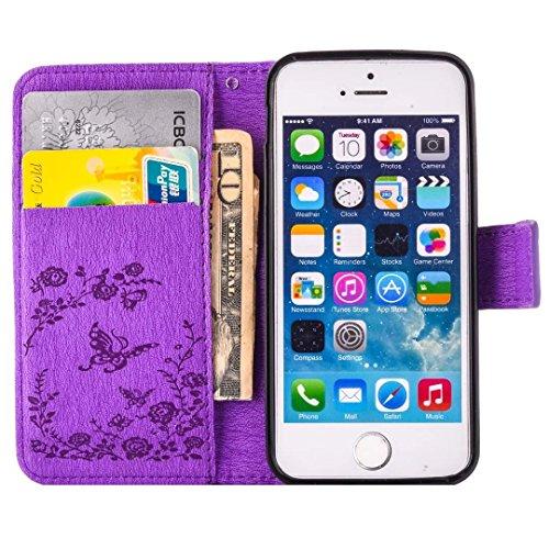 MUTOUREN Carcasa iPhone 6/6S 4.7 2016 Nuevo Producto Accesorios Conjunto Bling Caja Delgada Cuero Mate Diamante Lujo Libro Funda Case Para Telefono Soporte iPhone 6/6S 4.7 Cover Cuero PU Dorado Cubi Mariposa púrpura
